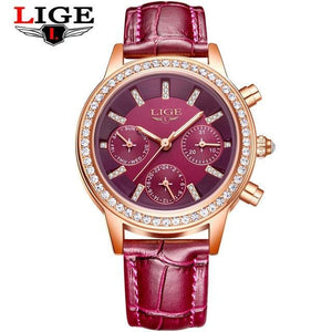 Ladies Leather Watches Luxury Brand Women Dress Quartz-Watch Student Diamond Womens' Fashion Accessories purple Fashion & Tech Shop