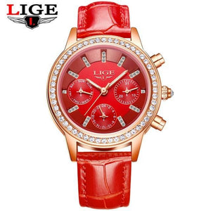 Ladies Leather Watches Luxury Brand Women Dress Quartz-Watch Student Diamond Womens' Fashion Accessories red Fashion & Tech Shop