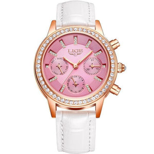 Ladies Leather Watches Luxury Brand Women Dress Quartz-Watch Student Diamond Womens' Fashion Accessories white pink Fashion & Tech Shop