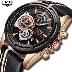 LIGE Mens Watches Top Brand Luxury Men's Military Sports Watch Men Chronograph Date Waterproof Quartz Watch mens watch Black rose gold Fashion & Tech Shop