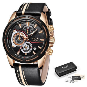 LIGE Mens Watches Top Brand Luxury Men's Military Sports Watch Men Chronograph Date Waterproof Quartz Watch mens watch Rose gold black Fashion & Tech Shop
