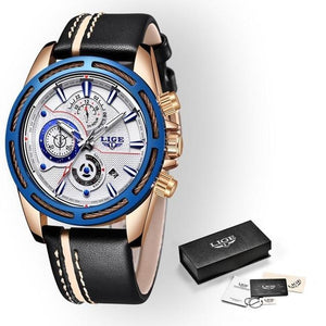 LIGE Mens Watches Top Brand Luxury Men's Military Sports Watch Men Chronograph Date Waterproof Quartz Watch mens watch Rose gold blue Fashion & Tech Shop