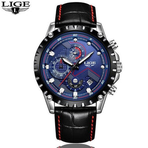 LIGE Watch Men Fashion Sport Quartz Clock Mens Watches Top Brand Luxury Full Steel mens watch leather silver blue Fashion & Tech Shop
