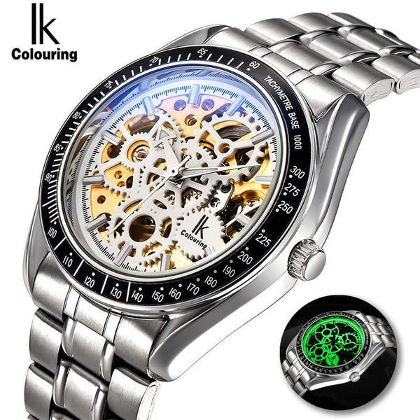 Luminous New IK Men's Skeleton WristWatch Stainless steel Antique Steampunk Casual Automatic Skeleton Mechanical Watches Male mens watch Black gold Fashion & Tech Shop