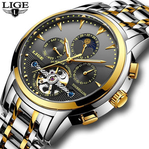 Mens Watches New LIGE Top Brand Luxury Men's Automatic Mechanical Watch mens watch gold black Fashion & Tech Shop