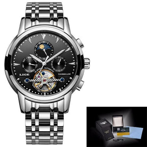 Mens Watches New LIGE Top Brand Luxury Men's Automatic Mechanical Watch mens watch silver black Fashion & Tech Shop