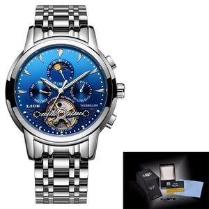 Mens Watches New LIGE Top Brand Luxury Men's Automatic Mechanical Watch mens watch silver blue Fashion & Tech Shop