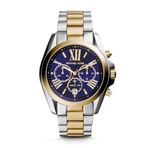 Michael Kors Women's Bradshaw Chronograph Blue Dial Two-Tone Stainless Steel Bracelet Watch Michael Kors