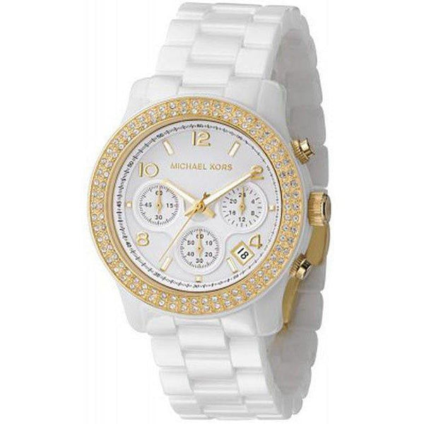 Michael Kors Women's 'Glitz' Chronograph Crystal White Ceramic Watch Michael Kors