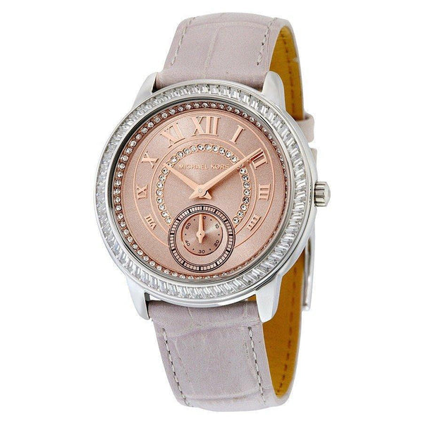 Michael Kors Women's Madelyn Diamond Rose-Tone Dial Grey Leather Watch Michael Kors