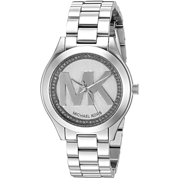 Michael Kors Women's MK3548 'Mini Slim Runway' MK Logo Crystal Stainless Steel Watch Michael Kors