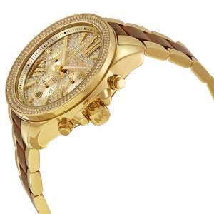 Michael Kors Women's MK6294 Wren Chronograph Crystal Pave Gold-Tone Dial Two-Tone Bracelet Watch Michael Kors