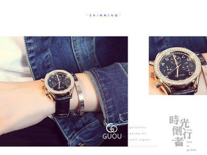 New GUOU Luxury Brand Ladies Watch Fashion Women Leather Strap Bracelet Rhinestone Crystal Diamond Quartz-watch Clock Womens' Fashion Accessories Black Fashion & Tech Shop