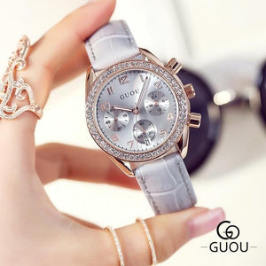 New GUOU Luxury Brand Ladies Watch Fashion Women Leather Strap Bracelet Rhinestone Crystal Diamond Quartz-watch Clock Womens' Fashion Accessories Grey Fashion & Tech Shop