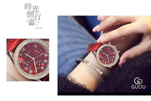 New GUOU Luxury Brand Ladies Watch Fashion Women Leather Strap Bracelet Rhinestone Crystal Diamond Quartz-watch Clock Womens' Fashion Accessories Red Fashion & Tech Shop