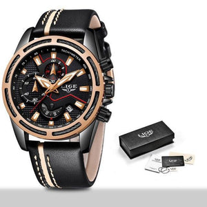 New LIGE Mens Watches Top Brand Luxury Quartz Wristwatch Men Casual Leather Military mens watch Black rose gold Fashion & Tech Shop