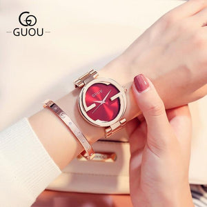 New Luxury Women Watches Women Fashion Bracelet Watch Quartz Wrist Watch For Women Top Brand Gold Ladies Casual Watch Clock 2018 Womens' Fashion Accessories rose gold red Fashion & Tech Shop