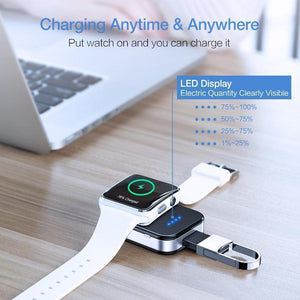 RAXFLY Keychain Wireless Charger For Apple i Watch Series 2 3 4 950mAH LED Power Bank Phone Chargers Fashion & Tech Shop