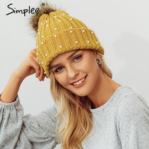 Simplee Elegant fur ball cap pearls pom poms winter skullies hat for women girl 's hat Knitted beanies cap Hats Black Fashion & Tech Shop