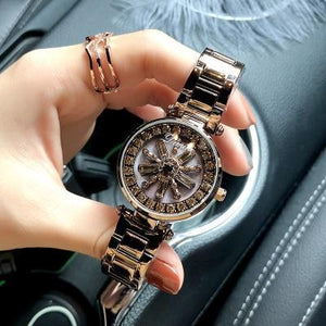 Stainless Steel Rotation Women Rhinestone Watches Fashion Ladies Casual Dress Watch Womens' Fashion Accessories Brown Fashion & Tech Shop