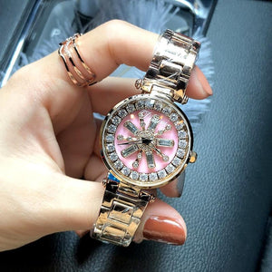 Stainless Steel Rotation Women Rhinestone Watches Fashion Ladies Casual Dress Watch Womens' Fashion Accessories rose gold Fashion & Tech Shop