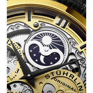 Stuhrling Original Men's 371 Series Skeleton Dial, Dual Time, AM/PM Sun Moon Stainless Steel Automatic Watch with Leather Band mens watch Gold Fashion & Tech Shop