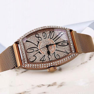 Super Black Women Watches Women Rose Gold Quartz Dress Watch Woman Rhinestone Barrel Womens' Fashion Accessories Coffee Fashion & Tech Shop