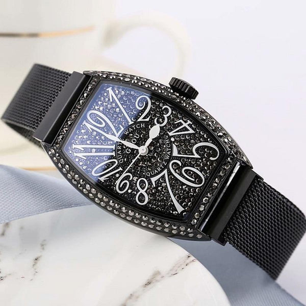 Super Black Women Watches Women Rose Gold Quartz Dress Watch Woman Rhinestone Barrel Womens' Fashion Accessories Rose Fashion & Tech Shop
