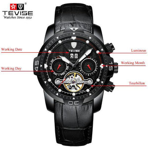 TEVISE Luxury Men's Automatic Mechanical Watches Self Wind Leather Watch Tourbillon Date Week Wristwatches mens watch black 1 Fashion & Tech Shop