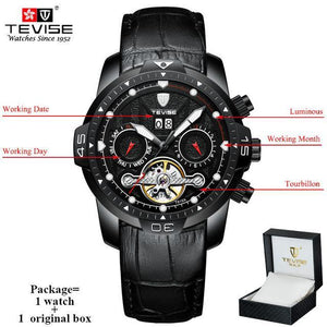 TEVISE Luxury Men's Automatic Mechanical Watches Self Wind Leather Watch Tourbillon Date Week Wristwatches mens watch black 1 n box Fashion & Tech Shop