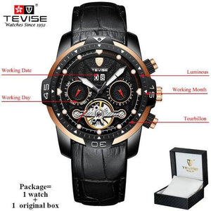 TEVISE Luxury Men's Automatic Mechanical Watches Self Wind Leather Watch Tourbillon Date Week Wristwatches mens watch black 2 n box Fashion & Tech Shop