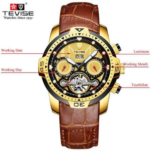 TEVISE Luxury Men's Automatic Mechanical Watches Self Wind Leather Watch Tourbillon Date Week Wristwatches mens watch brown 1 Fashion & Tech Shop
