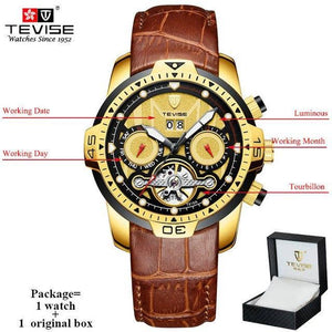 TEVISE Luxury Men's Automatic Mechanical Watches Self Wind Leather Watch Tourbillon Date Week Wristwatches mens watch brown 1 n box Fashion & Tech Shop