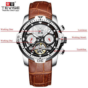 TEVISE Luxury Men's Automatic Mechanical Watches Self Wind Leather Watch Tourbillon Date Week Wristwatches mens watch brown 2 Fashion & Tech Shop