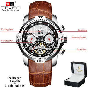 TEVISE Luxury Men's Automatic Mechanical Watches Self Wind Leather Watch Tourbillon Date Week Wristwatches mens watch brown 2 n box Fashion & Tech Shop