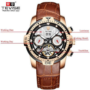 TEVISE Luxury Men's Automatic Mechanical Watches Self Wind Leather Watch Tourbillon Date Week Wristwatches mens watch brown 3 Fashion & Tech Shop