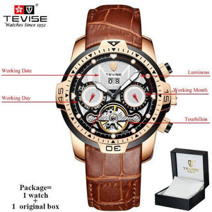 TEVISE Luxury Men's Automatic Mechanical Watches Self Wind Leather Watch Tourbillon Date Week Wristwatches mens watch brown 3 n box Fashion & Tech Shop