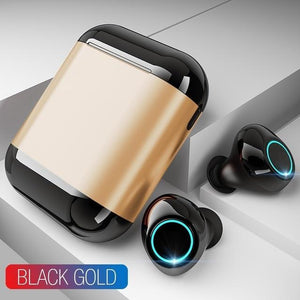 TOMKAS Bluetooth Headphones TWS Earbuds Wireless Bluetooth Earphones Stereo Headset Bluetooth Earphone With Mic and Charging Box Wireless Earphones Black Gold Fashion & Tech Shop