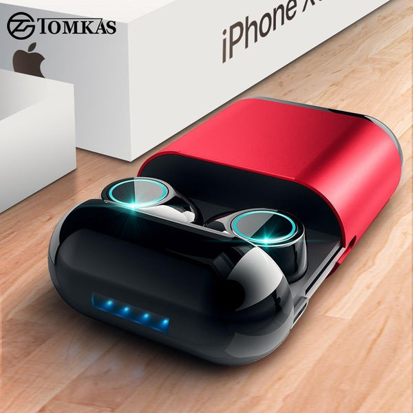 TOMKAS Bluetooth Headphones TWS Earbuds Wireless Bluetooth Earphones Stereo Headset Bluetooth Earphone With Mic and Charging Box Wireless Earphones Black Red Fashion & Tech Shop