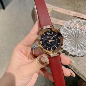 Top Brand Diamond Dial Women Watches Ladies Casual Dress Watch Women Elegant Starry Sky Dial Quartz Watch Womens' Fashion Accessories wine red Fashion & Tech Shop