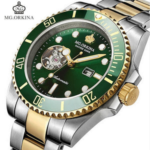 Top Brand MG.ORKINA Automatic Mechanical Watches Men 316L Stainless Steel Watches Luminous Green Dial Men Watch 30M Waterproof mens watch 007goldblack Fashion & Tech Shop