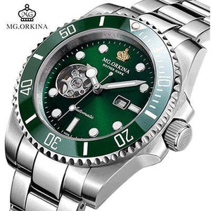 Top Brand MG.ORKINA Automatic Mechanical Watches Men 316L Stainless Steel Watches Luminous Green Dial Men Watch 30M Waterproof mens watch 007silvergreen Fashion & Tech Shop