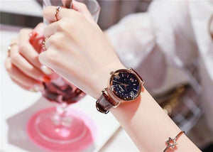 Top Brand Starry Dial Women Watch Lady Rhinestone Casual Quartz Watches Women Luxury Leather Strap Womens' Fashion Accessories Coffee Fashion & Tech Shop
