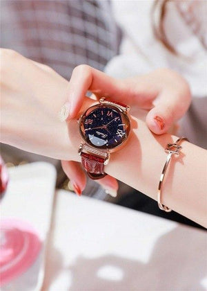 Top Brand Starry Dial Women Watch Lady Rhinestone Casual Quartz Watches Women Luxury Leather Strap Womens' Fashion Accessories dark red Fashion & Tech Shop