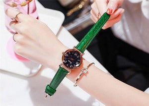 Top Brand Starry Dial Women Watch Lady Rhinestone Casual Quartz Watches Women Luxury Leather Strap Womens' Fashion Accessories Green Fashion & Tech Shop