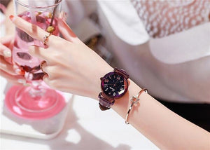 Top Brand Starry Dial Women Watch Lady Rhinestone Casual Quartz Watches Women Luxury Leather Strap Womens' Fashion Accessories Purple Fashion & Tech Shop