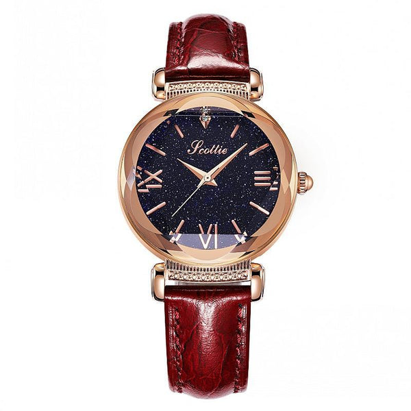 Top Brand Starry Dial Women Watch Lady Rhinestone Casual Quartz Watches Women Luxury Leather Strap Womens' Fashion Accessories Rose Fashion & Tech Shop