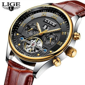Top Luxury Brand LIGE Mens Watches Men Fashion Business Automatic Watch Man Full Steel Waterproof mens watch leather Gold Black Fashion & Tech Shop