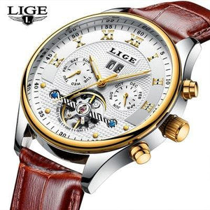Top Luxury Brand LIGE Mens Watches Men Fashion Business Automatic Watch Man Full Steel Waterproof mens watch leather Gold White Fashion & Tech Shop