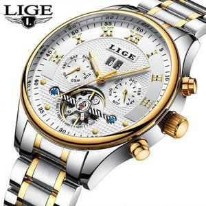 Top Luxury Brand LIGE Mens Watches Men Fashion Business Automatic Watch Man Full Steel Waterproof mens watch Steel Gold White Fashion & Tech Shop